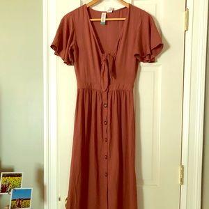 NWT Fall Rust Cutout Bow Button Down Midi Dress